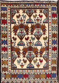 Tribal Ivory Hamedan Malayer Persian Wool Rug 2x3