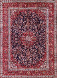 Navy Blue Floral 10x14 Kashan Persian Area Rug