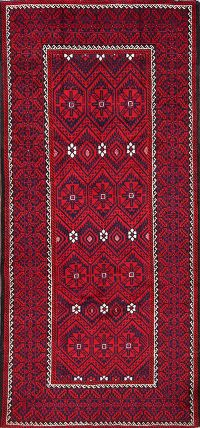 Red Geometric Balouch Persian Hand-Knotted 4x9 Wool Runner Rug