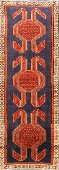 Geometric Royal Blue 4x13 Meshkin Persian Rug Runner