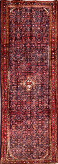 All-Over Geometric Hamedan Persian Hand-Knotted 4x11 Wool Runner Rug