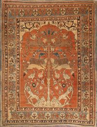 Antique 4x6 Tabriz Haj Jalili Persian Area Rug