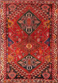 Antique Red Abadeh Nafar Persian Wool Rug 3x5