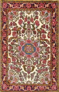 Floral Ivory Bidjar Persian Hand-Knotted Area Rug 3x5