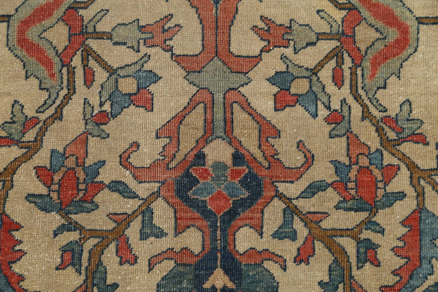 Pre-1900 Antique Floral Sarouk Farahan Persian Hand-Knotted 4'x7' Wool Area Rug image 7