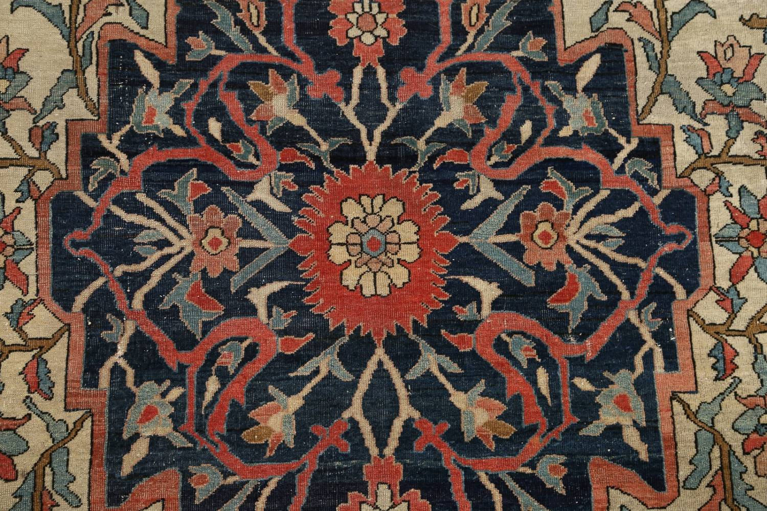 Pre-1900 Antique Floral Sarouk Farahan Persian Hand-Knotted 4'x7' Wool Area Rug image 9