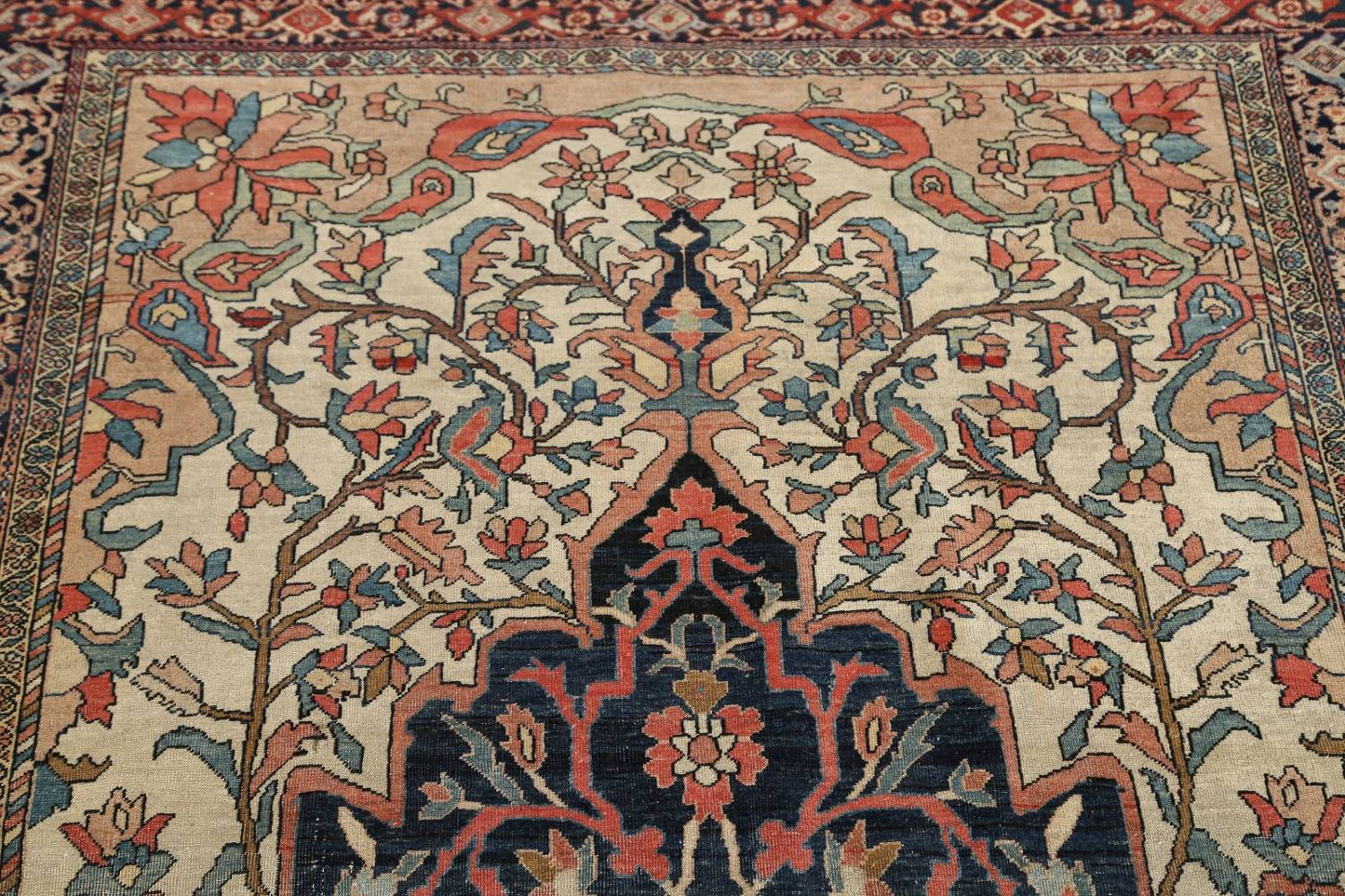 Pre-1900 Antique Floral Sarouk Farahan Persian Hand-Knotted 4'x7' Wool Area Rug image 10
