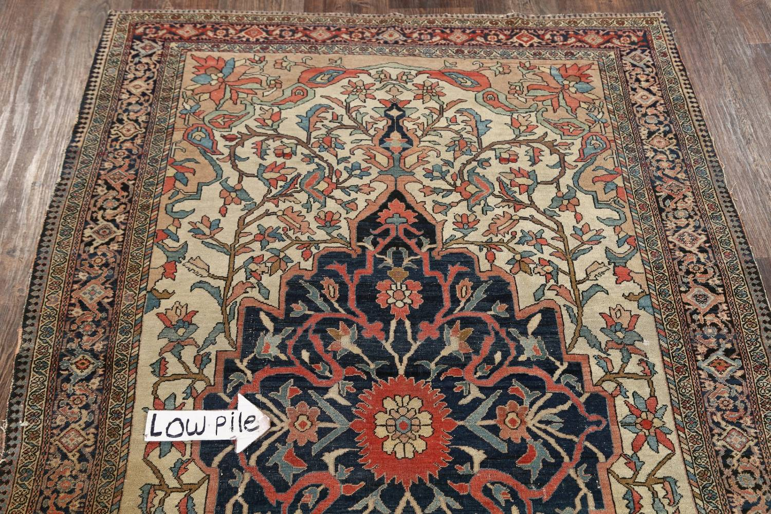 Pre-1900 Antique Floral Sarouk Farahan Persian Hand-Knotted 4'x7' Wool Area Rug image 17