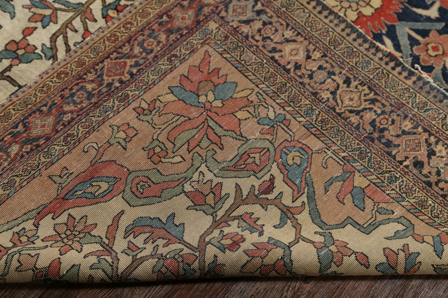 Pre-1900 Antique Floral Sarouk Farahan Persian Hand-Knotted 4'x7' Wool Area Rug image 22