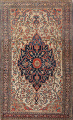 Pre-1900 Antique Floral Sarouk Farahan Persian Hand-Knotted 4'x7' Wool Area Rug image 1