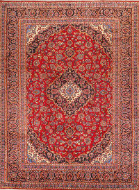 Traditional Floral Red 10x13 Mashad Persian Area Rug