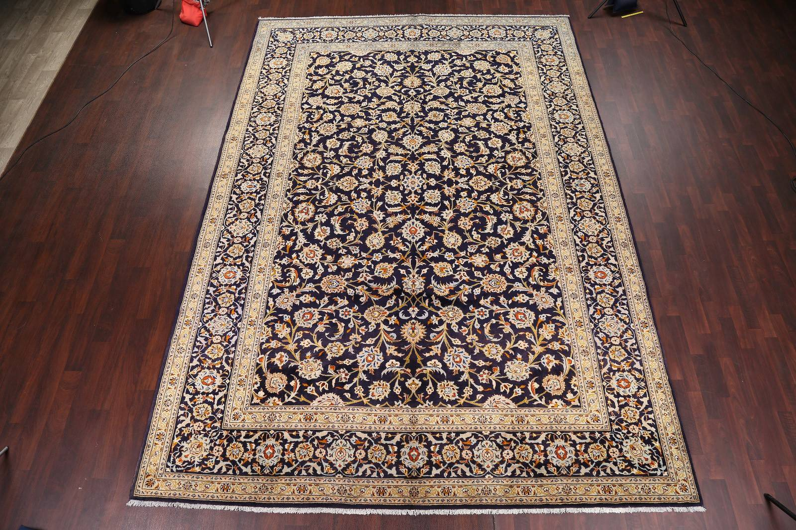 All-Over Floral Navy Blue 10x14 Kashan Persian Area Rug
