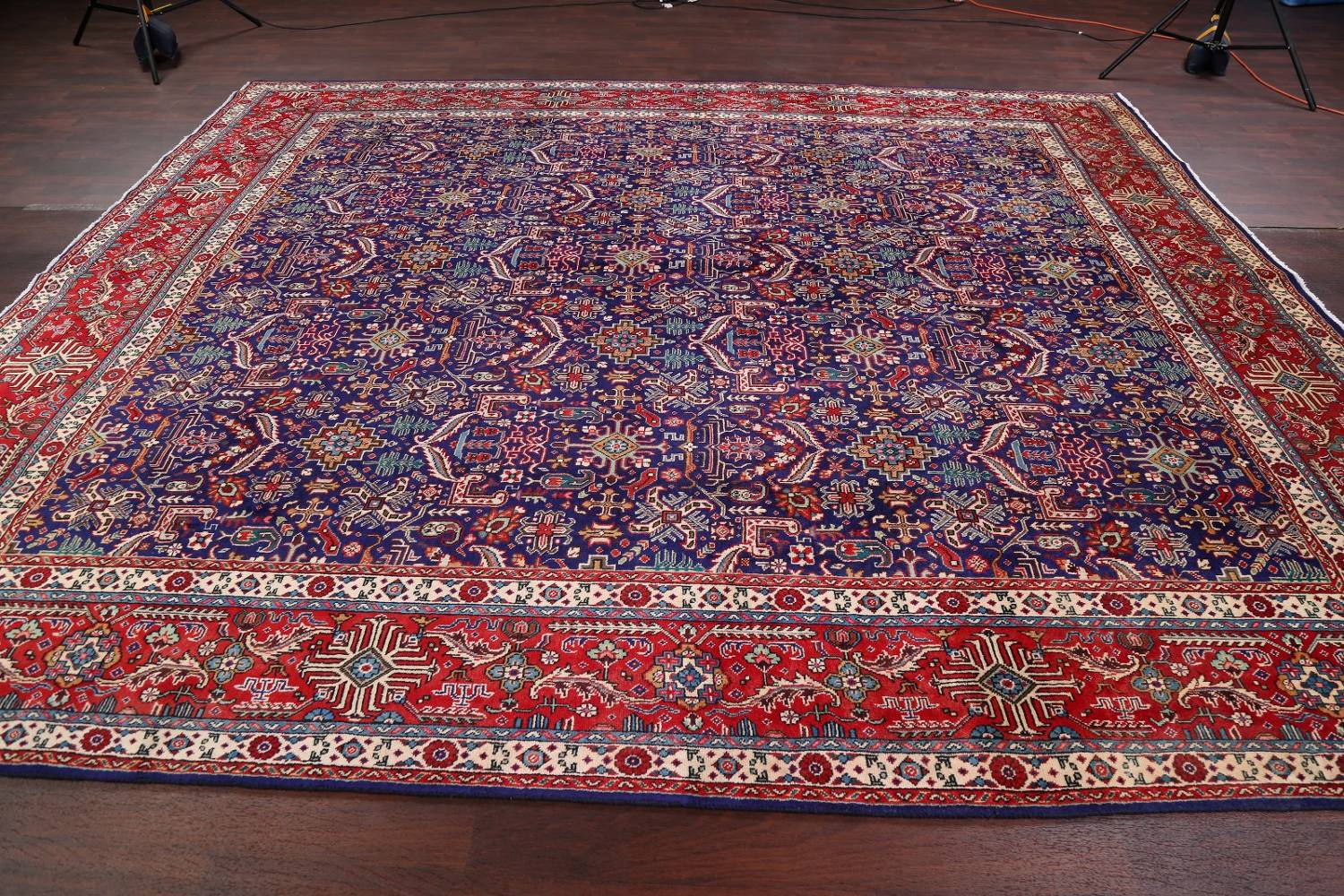 Geometric Square Royal Blue 11x12 Tabriz Persian Area Rug