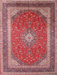 Traditional Floral Kashan Persian Hand-Knotted Area Rug