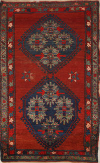 Geometric Red Kazak Russian Oriental Hand-Knotted Area Rug Wool 4x7