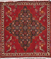 Tribal Abadeh Persian Hand-Knotted 2x2 Square Wool Rug
