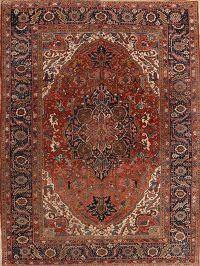 Pre-1900 Antique Geometric Heriz Serapi Persian 9x11 Area Rug