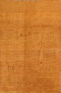 Solid Orange Gabbeh Shiraz Modern Persian Are Rug 7x10ft