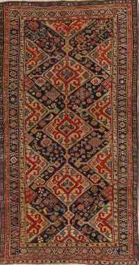 Antique Kazak Caucasian Russian Oriental Area Rug 5x8