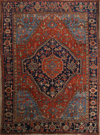 Pre-1900 Vegetable Dye Heriz Serapi Persian Area Rug 10x13