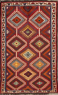 Tribal Qashqai Gabbeh Shiraz Persian Area Rug 5x7