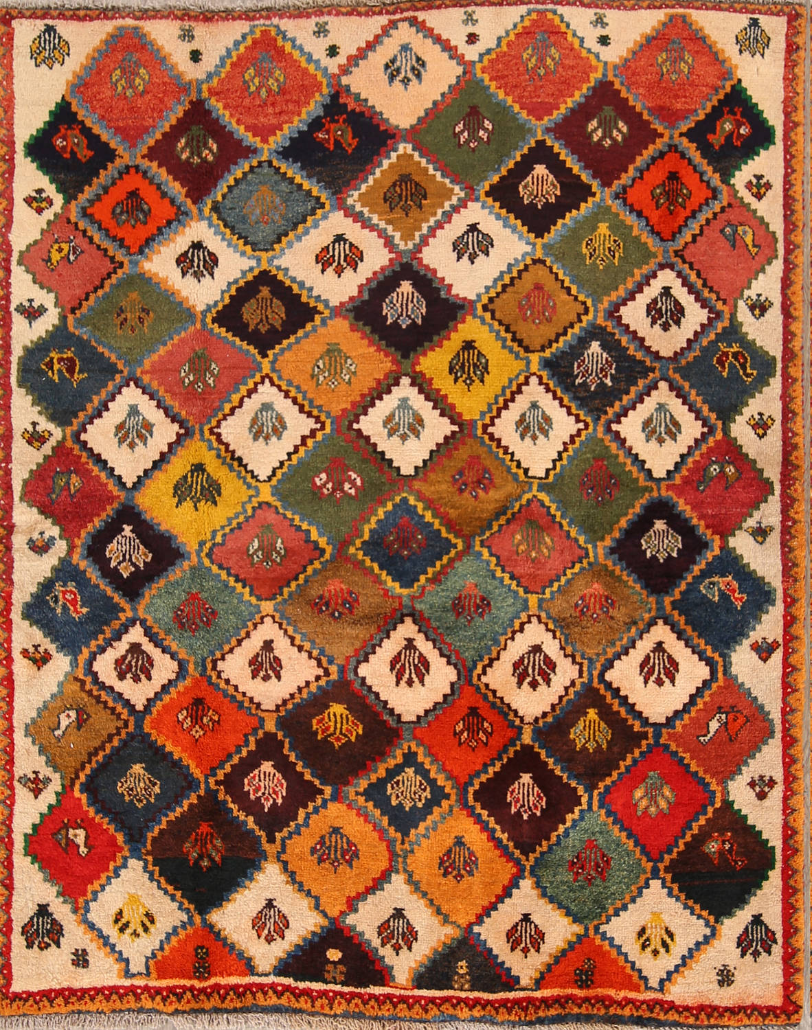 Tribal Geometric Gabbeh Shiraz Persian Hand-Knotted Area Rug Wool 5x6 image 1