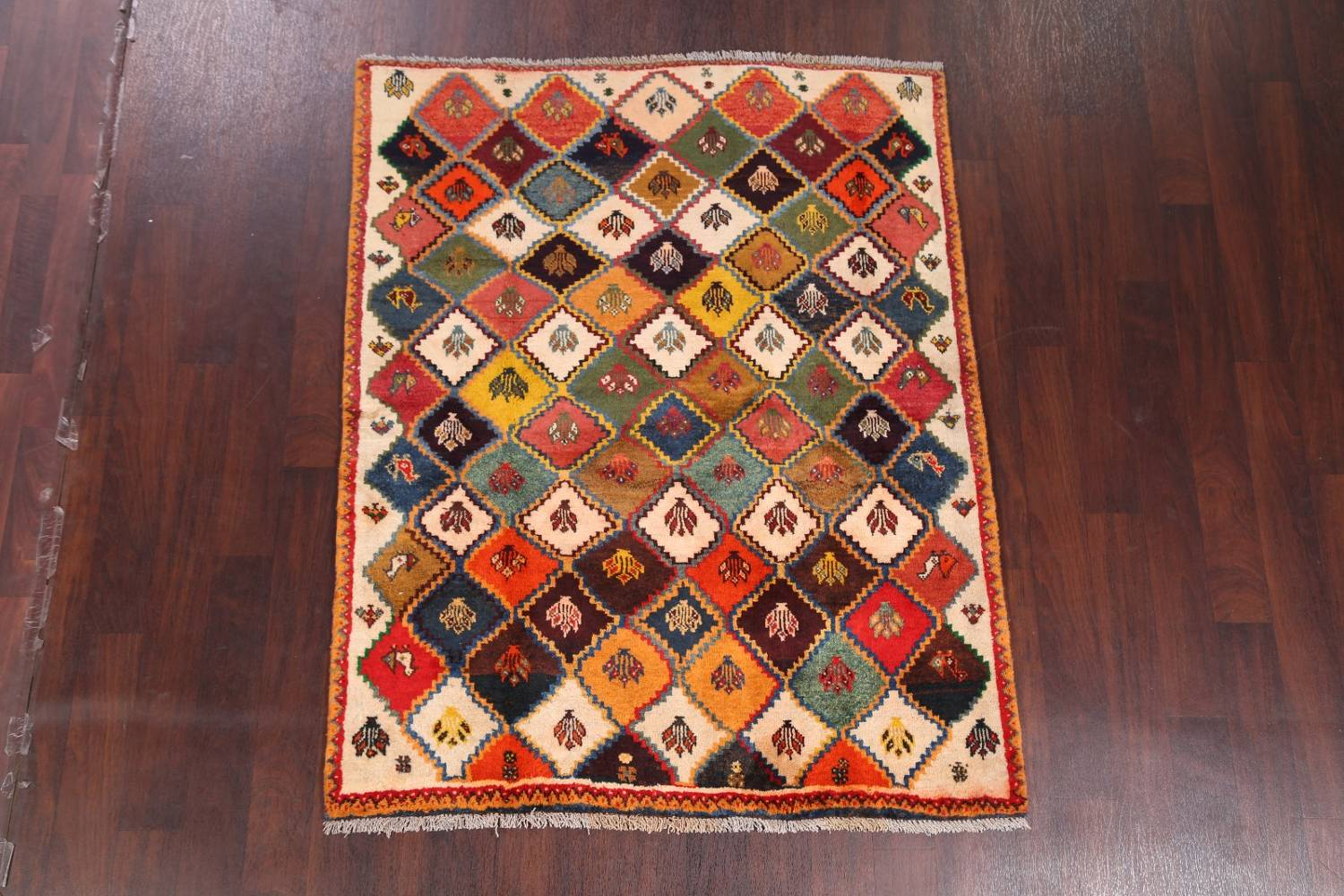 Tribal Geometric Gabbeh Shiraz Persian Hand-Knotted Area Rug Wool 5x6 image 2