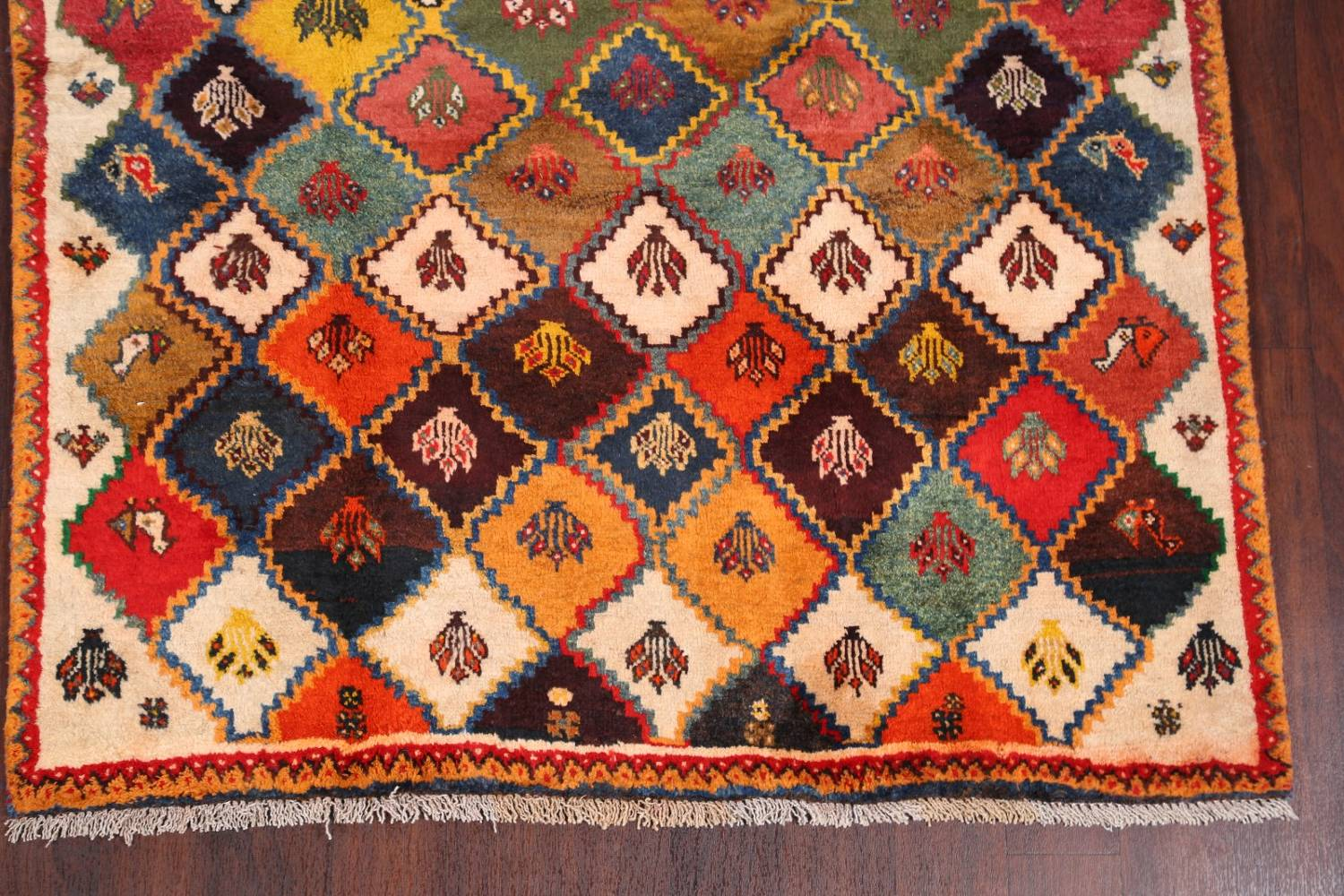 Tribal Geometric Gabbeh Shiraz Persian Hand-Knotted Area Rug Wool 5x6 image 5
