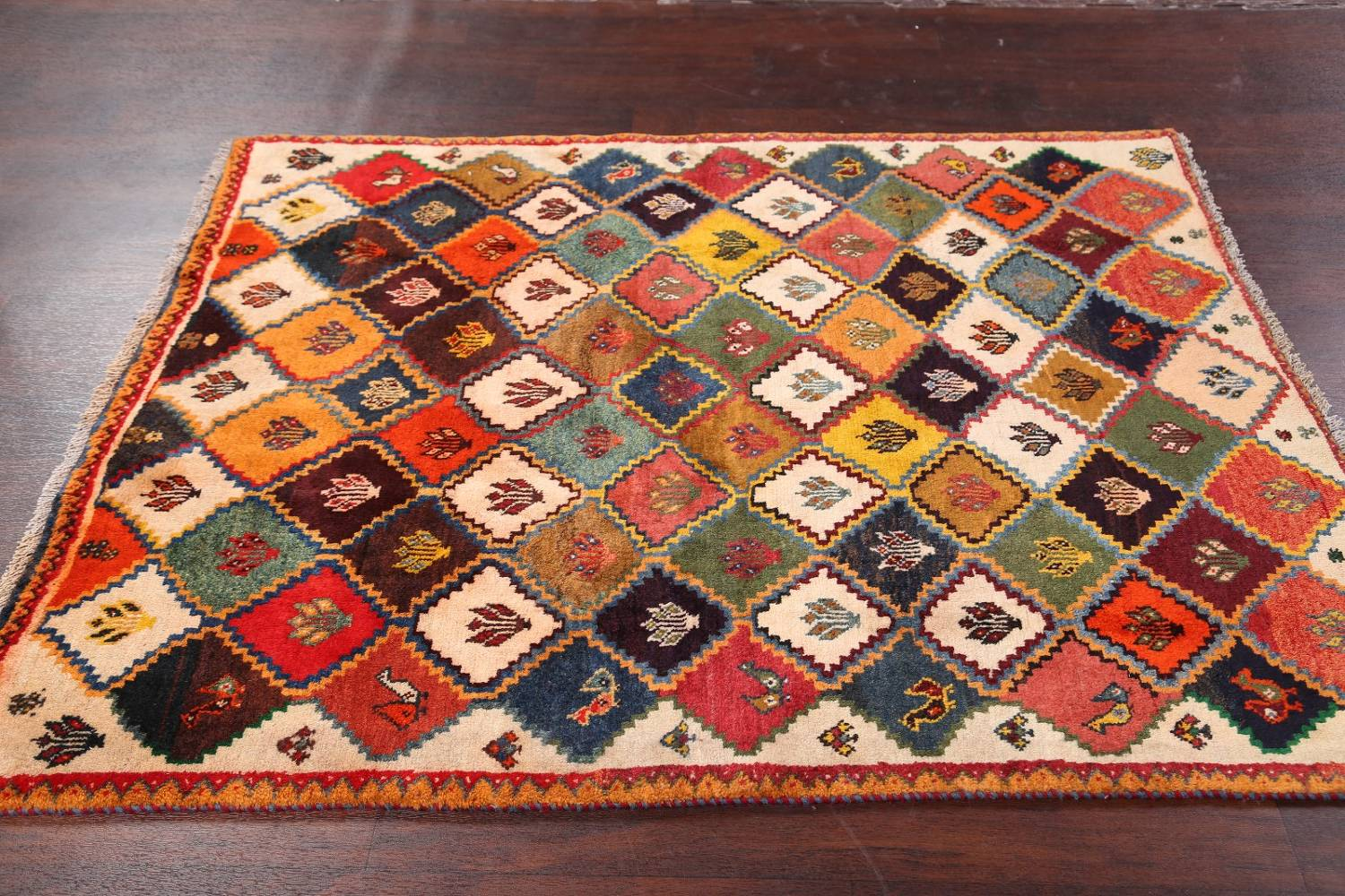 Tribal Geometric Gabbeh Shiraz Persian Hand-Knotted Area Rug Wool 5x6 image 10