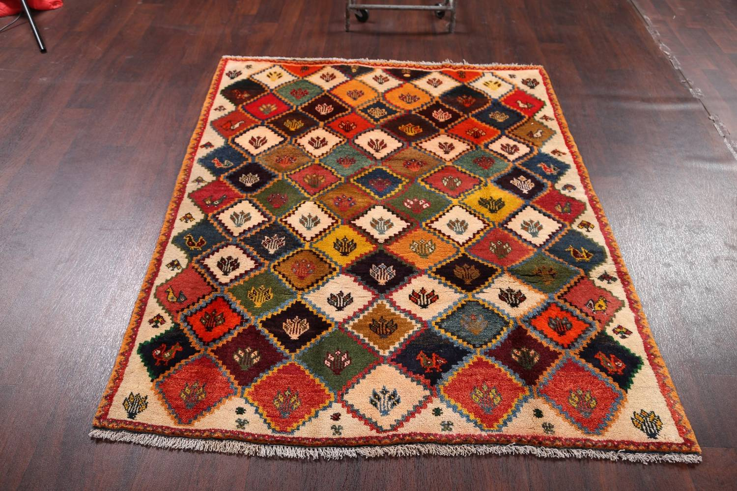 Tribal Geometric Gabbeh Shiraz Persian Hand-Knotted Area Rug Wool 5x6 image 11