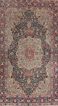 Pre-1900 Antique Heriz Serapi Persian Area Rug 6x10