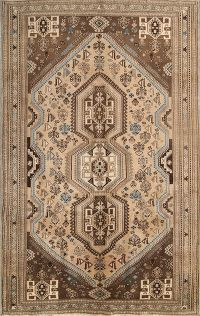 Tribal Geometric Abadeh Shiraz Persian Area Rug 6x9