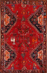 Antique Geometric Kashkoli Shiraz Persian Area Rug 4x6
