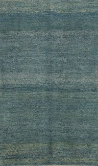 Contemporary Teal Blue Gabbeh Shiraz Persian Modern Hand-Knotted Area Rug
