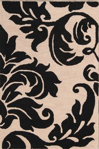 Transitional Black and White Tropical Oriental Area Rug 4x6