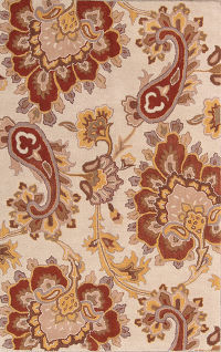 Hand-Tufted Paisley Floral Oushak Oriental Area Rug 5x8