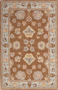 All-Over Tabriz Agra Indian Oriental Hand-Tufted 5x8 Wool Area Rug