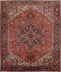 Vegetable Dye Heriz Persian Hand-Knotted 10x12 Wool Area Rug