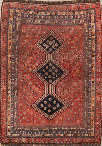 Pre-1900 Antique Tribal Qashqai Shiraz Persian Hand-Knotted 5x7 Wool Area Rug