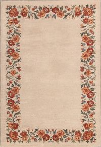 Hand-Tufted Kashan Oushak Indian Oriental Area Rug