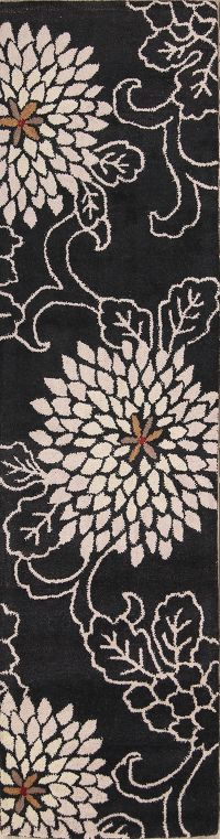 Hand-Tufted Black Transitional Floral Oushak Oriental Rug
