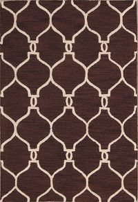 Hand-Tufted Dark Brown Trellis Oriental Area Rug