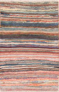 Striped 3x4 Gabbeh Zolanvari  Persian Rug