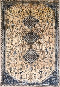 Geometric Tribal Shiraz Qashqai Persian Area Rug 6x9