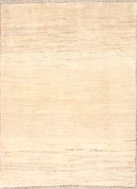 Solid Ivory Gabbeh Shiraz Persian Area Rug 4x5