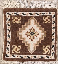 Tribal Geometric Ivory Moroccan Oriental Hand-Knotted Area Rug Wool 1x1