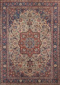 Antique Floral Khoy Tabriz Persian Area Rug 7x10