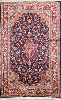 Navy Blue Floral Kashmar Persian Area Rug 4x7