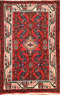 Geometric Red 2x4 Hamedan Persian Area Rug