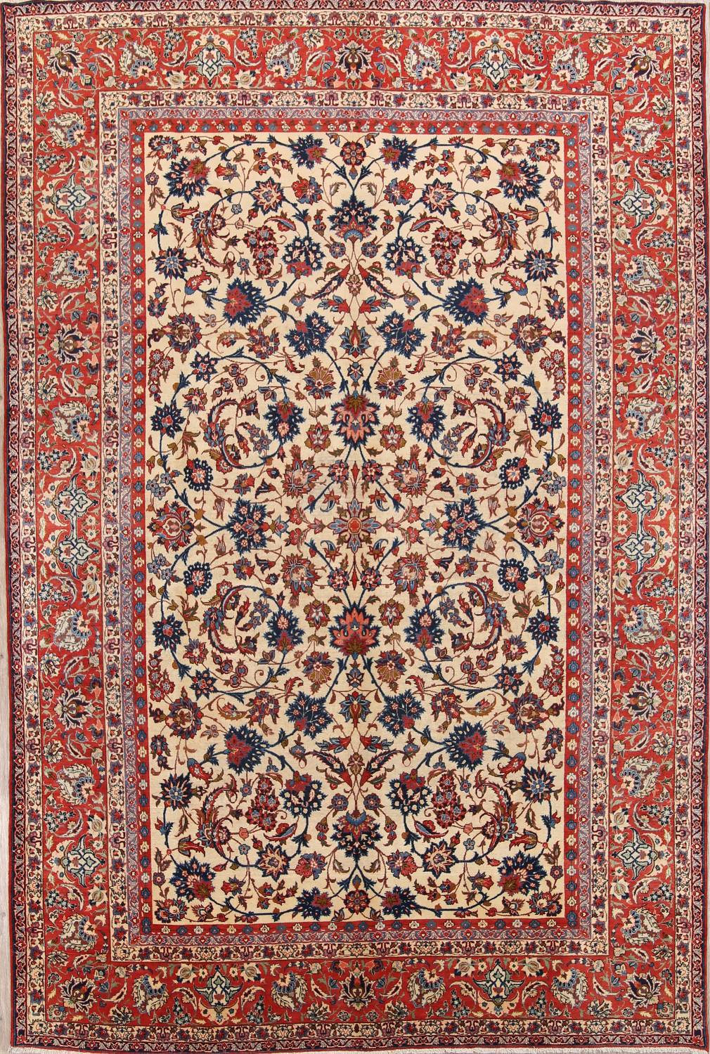 Floral 9x13 Isfahan Persian Area Rug image 1
